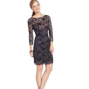 New Eliza J navy lace overlay ruched sheath dress